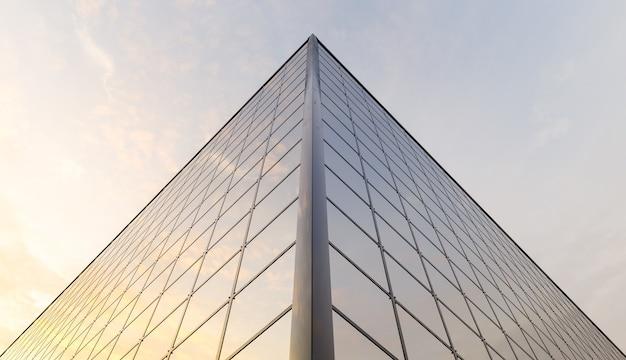 일몰을 반영하는 창문으로 가득한 건물의 상단 모서리. 3d 렌더링