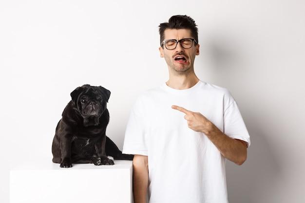 かわいい黒いパグを指して、すすり泣き、彼のペットに不平を言って、白い背景に対して悲しそうに立っている動揺して泣いている男