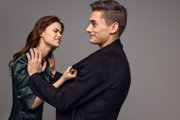 Upset woman jacket men aggression irritability conflict