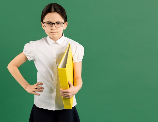 Upset young teacher with copy space
