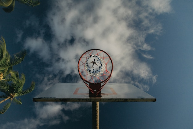 Upshot of a basketball hoop with an airplane visible through the basket hole in the sky