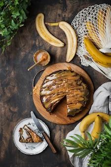 逆さまのバナナケーキとキャラメルソース