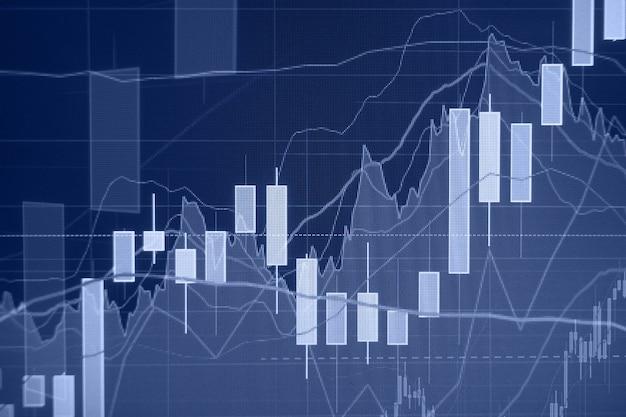 上昇トレンド-株式市場のグラフと棒グラフ-財務および事業の背景