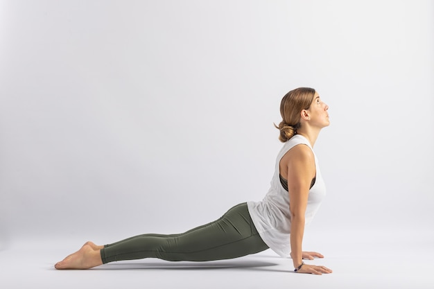 Upward facing dog pose (urdhva mukha svanasana) yoga postures (asana)
