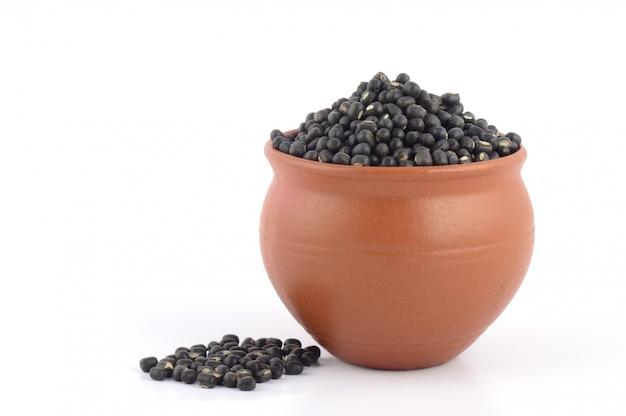 Urad dal, black gram, vigna mungo in clay pot