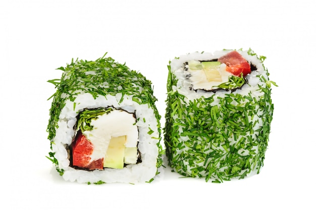 Uramaki vegetable maki sushi with dill, two rolls isolated on white