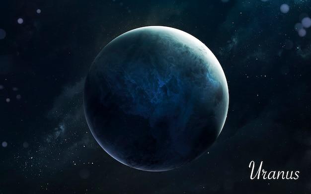 Уран. планеты солнечной системы потрясающего качества. идеальное научное изображение в 5к. элементы этого изображения, предоставленные наса