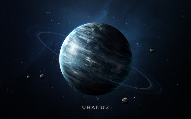 Uranus in the space, 3d illustration. .