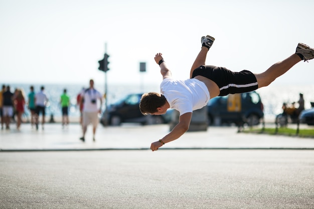 Urban acrobatics with somersault
