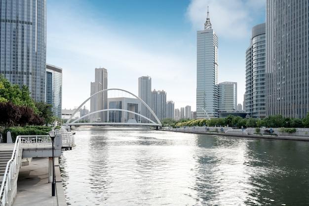 중국 톈진의 도시 건축 풍경