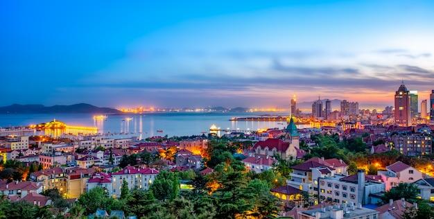 중국 청도의 도시 건축 풍경
