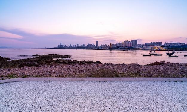 Urban architectural landscape skyline along qingdao coastal line