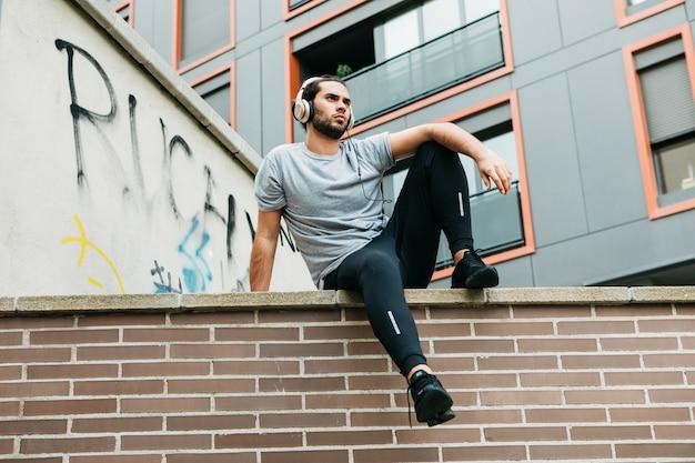 Urban athlete on wall
