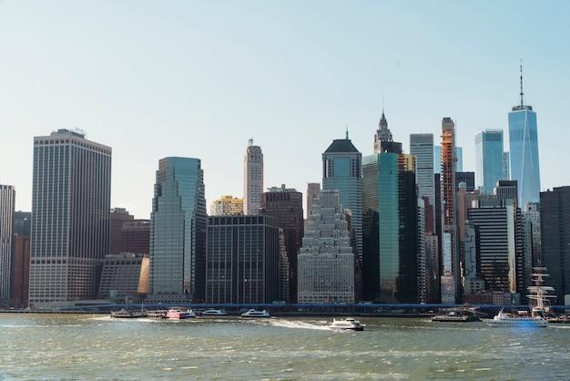 Urban cityscape near river
