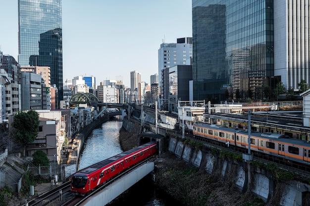 도시 풍경 일본 열차