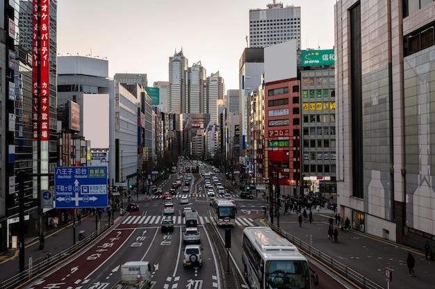 Городской пейзаж япония автомобили