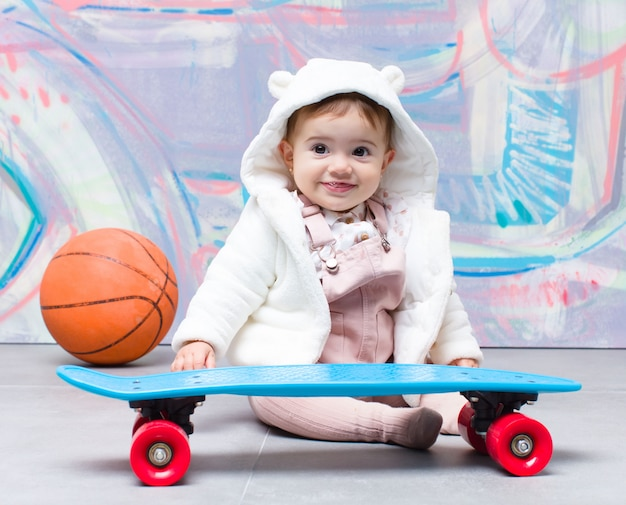 Urban look baby with skate board