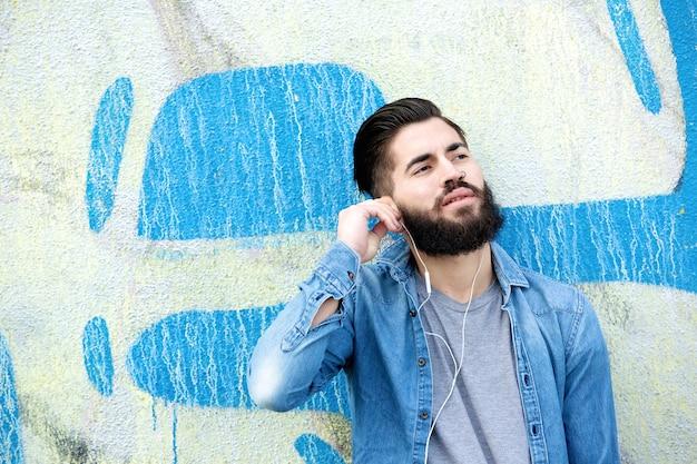 Urban man with earphones