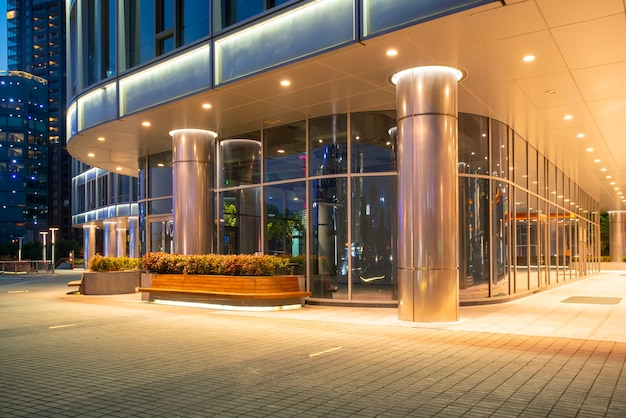 Urban nightscape glass wall modern architecture