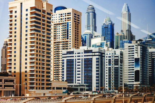 Urban road cityscape of dubai at daytime