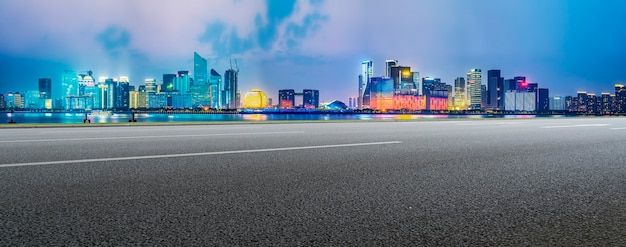 Urban road and hangzhou architectural landscape skyline