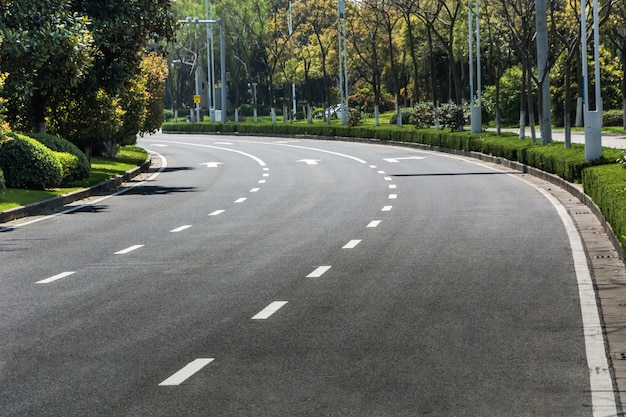 Urban road with lines painted