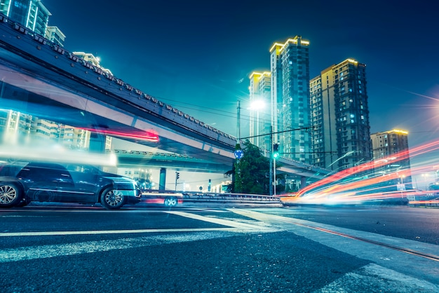Urban roads and blurred lights