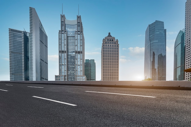 Urban roads and modern buildings  in lujiazui financial district, shanghai