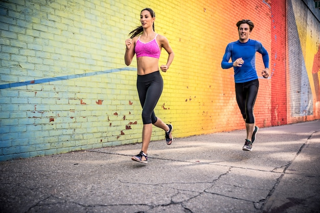 Urban runners running in the city