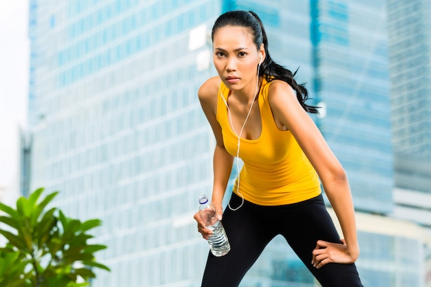 Urban sports - fitness in asian or indonesian city