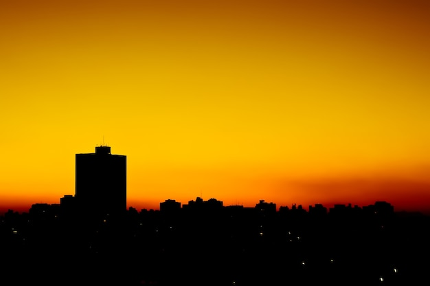 Urban sunset degrade in the city