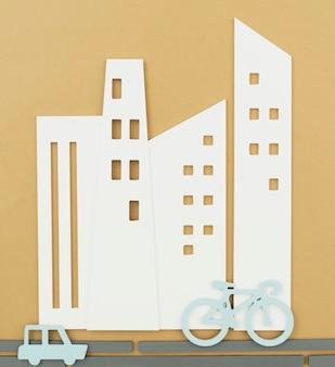 자전거와 자동차 도시 교통 개념