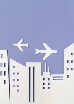 Concetto di trasporto urbano con aerei