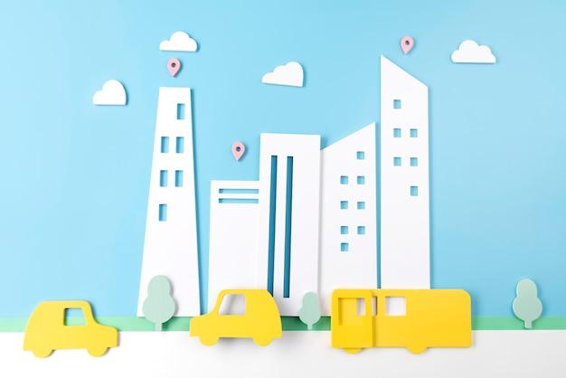 Concetto di trasporto urbano con veicoli