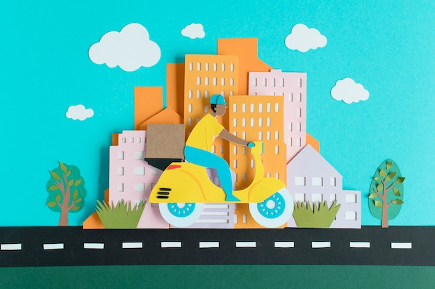 Urban transport in paper style assortment