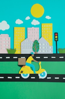 Urban transport in paper style composition