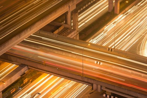 Urban transportation. traffic trails on a highway