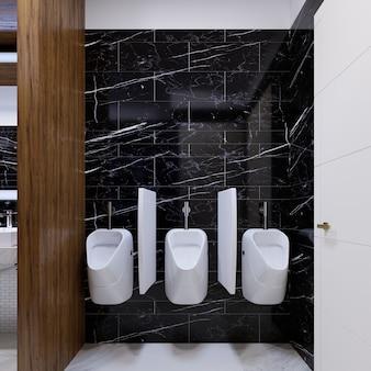 大理石の壁にある公衆トイレの小便器。 3dレンダリング