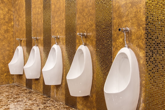 Urinals in an old building for men only.