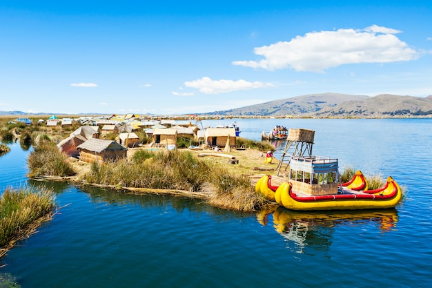 Uros island on titicaca lake near puno city in peru