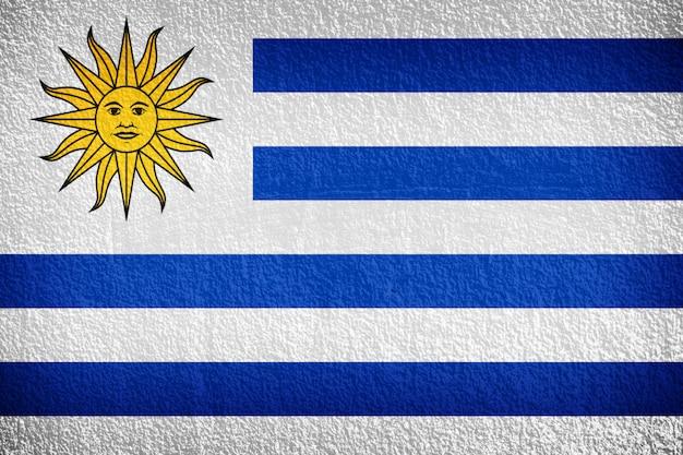 Uruguay flag painted on grunge wall