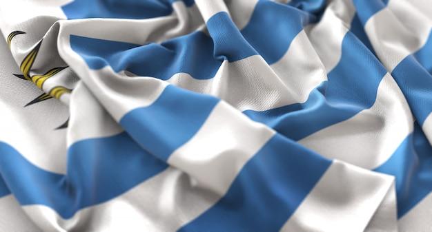 Uruguay flag ruffled beautifully waving macro close-up shot