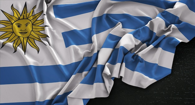 Uruguay flag wrinkled on dark background 3d render