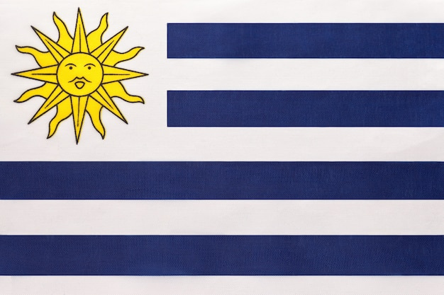 Uruguay national fabric flag, textile background. symbol of international world south america country.