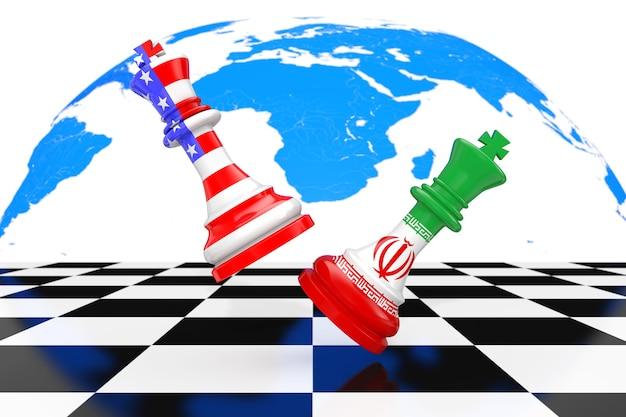 미국 미국과 이란 킹스 체스 흰색 배경에 체스 보드를 놓고 싸우고 있습니다. 3d 렌더링