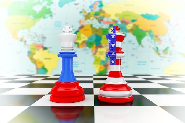 Флаги сша, америки и россии на шахматах королей над крайним крупным планом шахматной доски. 3d рендеринг