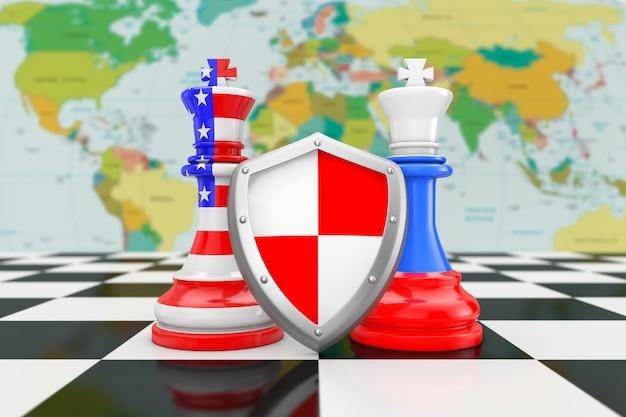 Флаги сша, америки и россии на королевских шахматах с защитным щитом над крайним крупным планом шахматной доски. 3d рендеринг