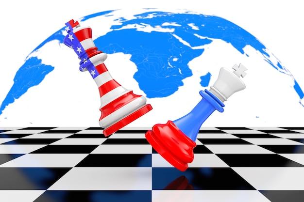 Сша, америка и россия, короли шахмат, борющиеся за крайний крупный план шахматной доски. 3d рендеринг