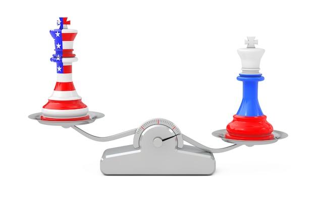 Сша америка и россия короли шахматы над простой шкалой баланса на белом фоне. 3d рендеринг