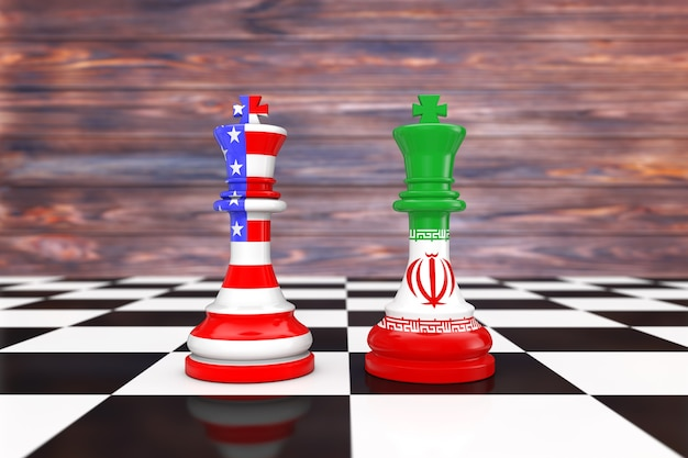 Us america and iran kings chess over a chess board in front of wooden background. 3d rendering